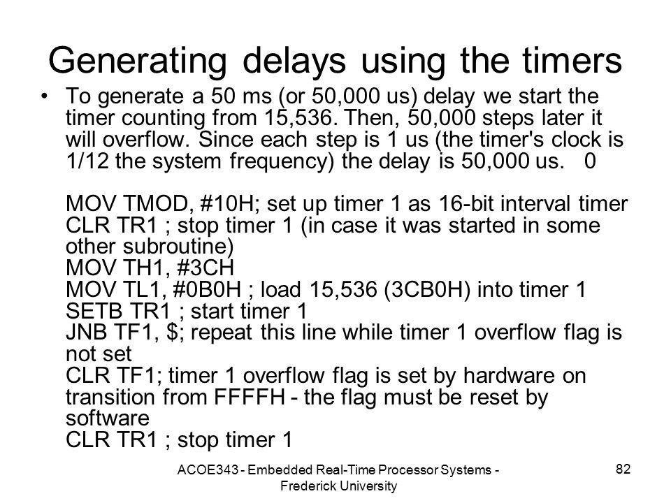 Generating delays using the timers