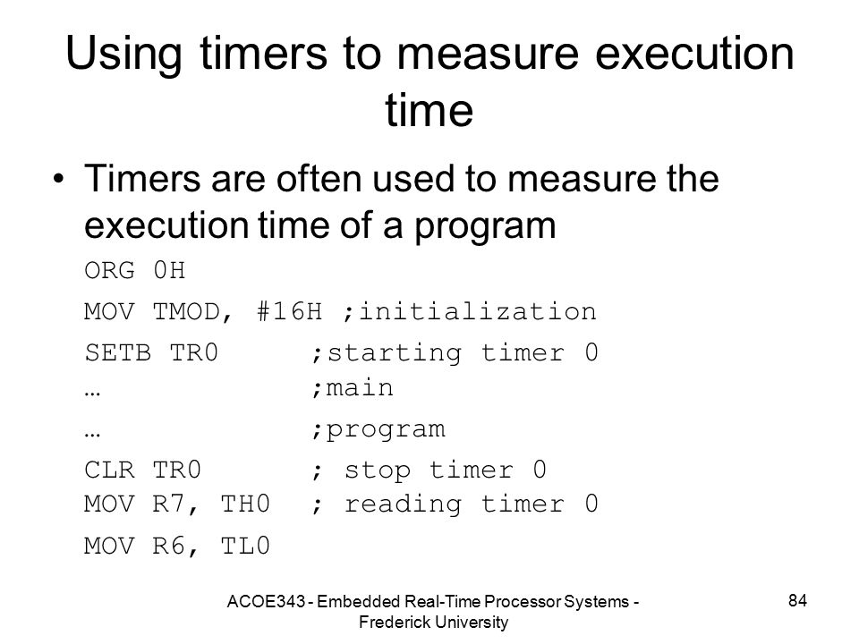 Using timers to measure execution time