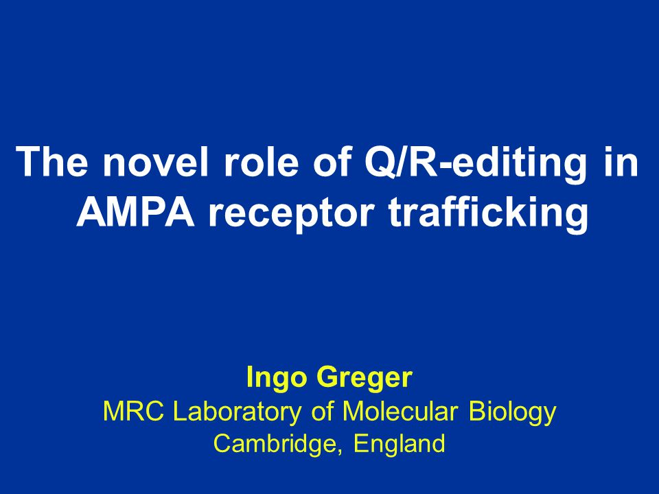 The novel role of Q/R-editing in AMPA receptor trafficking