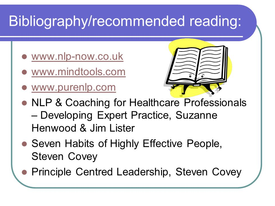 Bibliography/recommended reading: