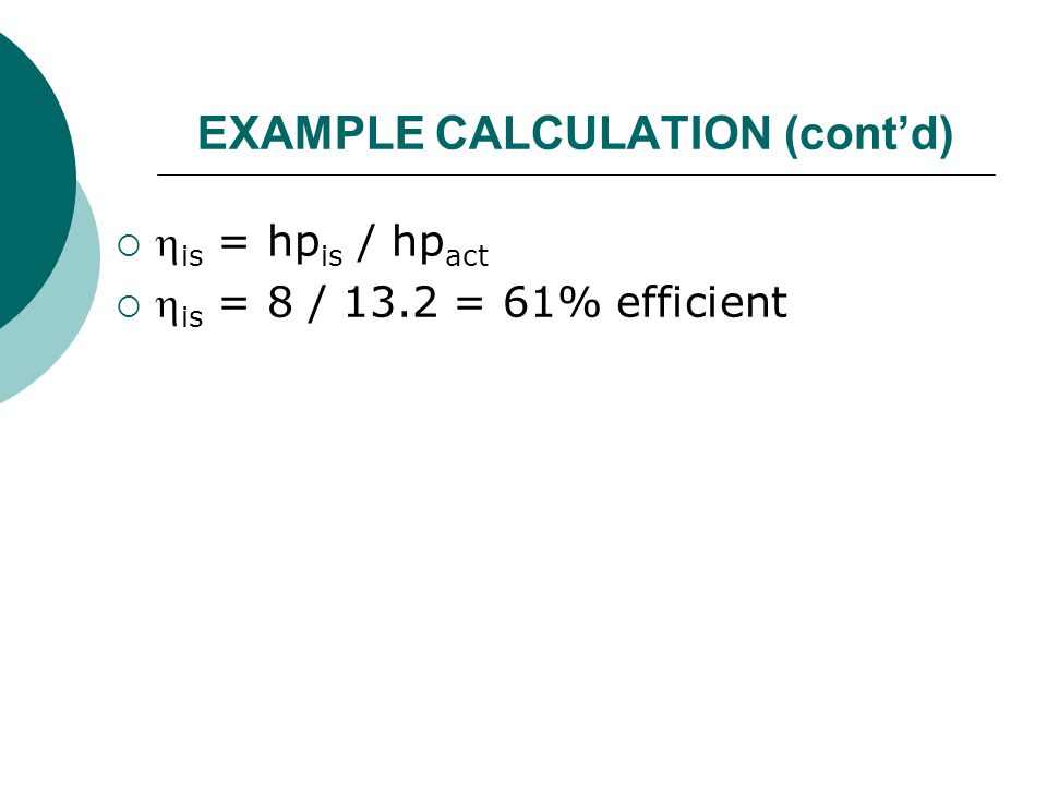 EXAMPLE CALCULATION (cont'd)