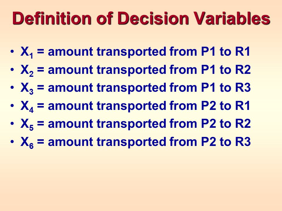 Definition of Decision Variables