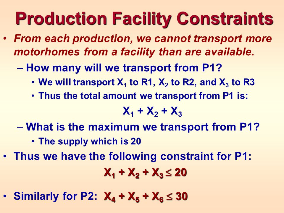 Production Facility Constraints