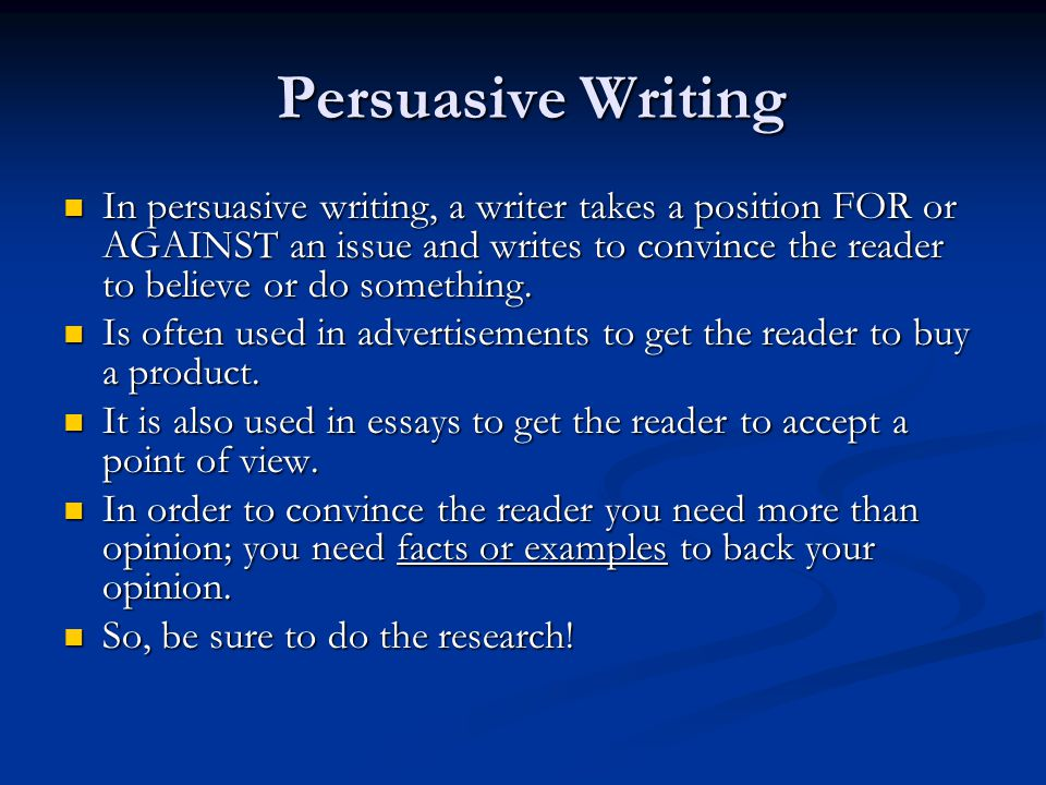 persuasive writing topic