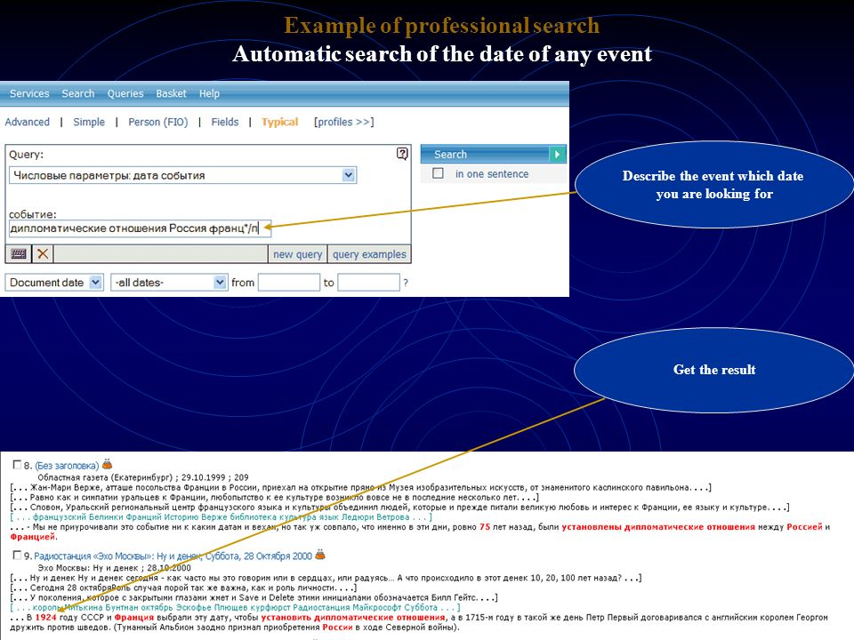 Example of professional search Describe the event which date
