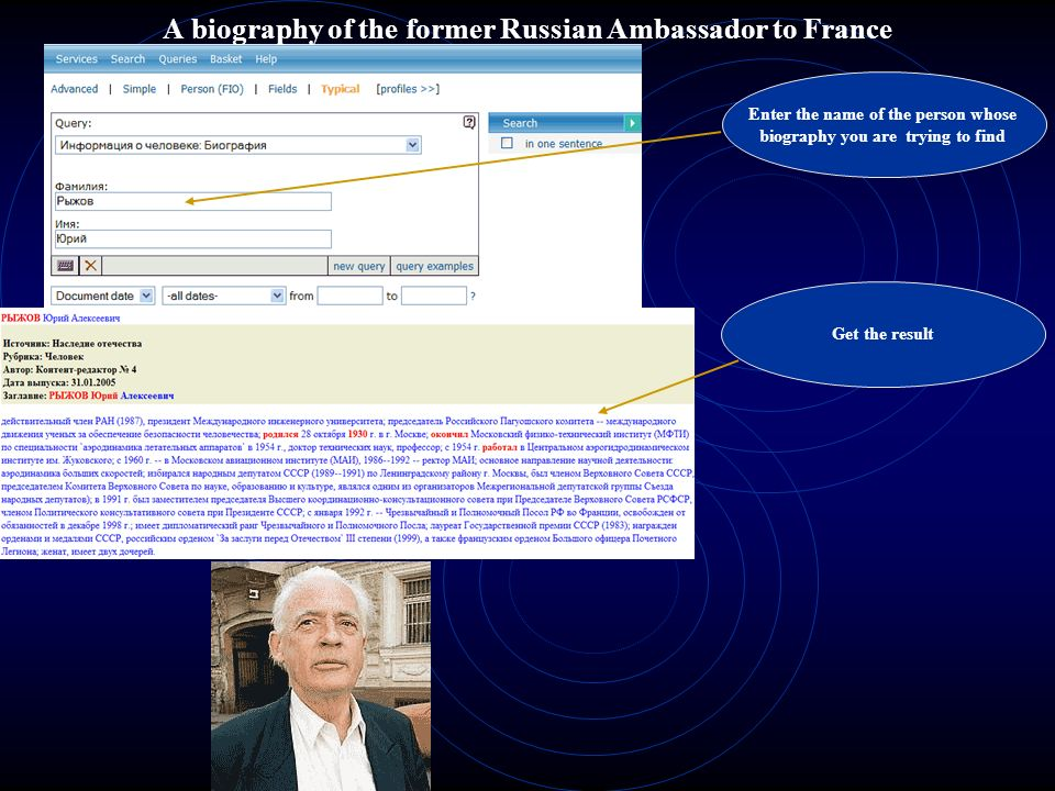 A biography of the former Russian Ambassador to France
