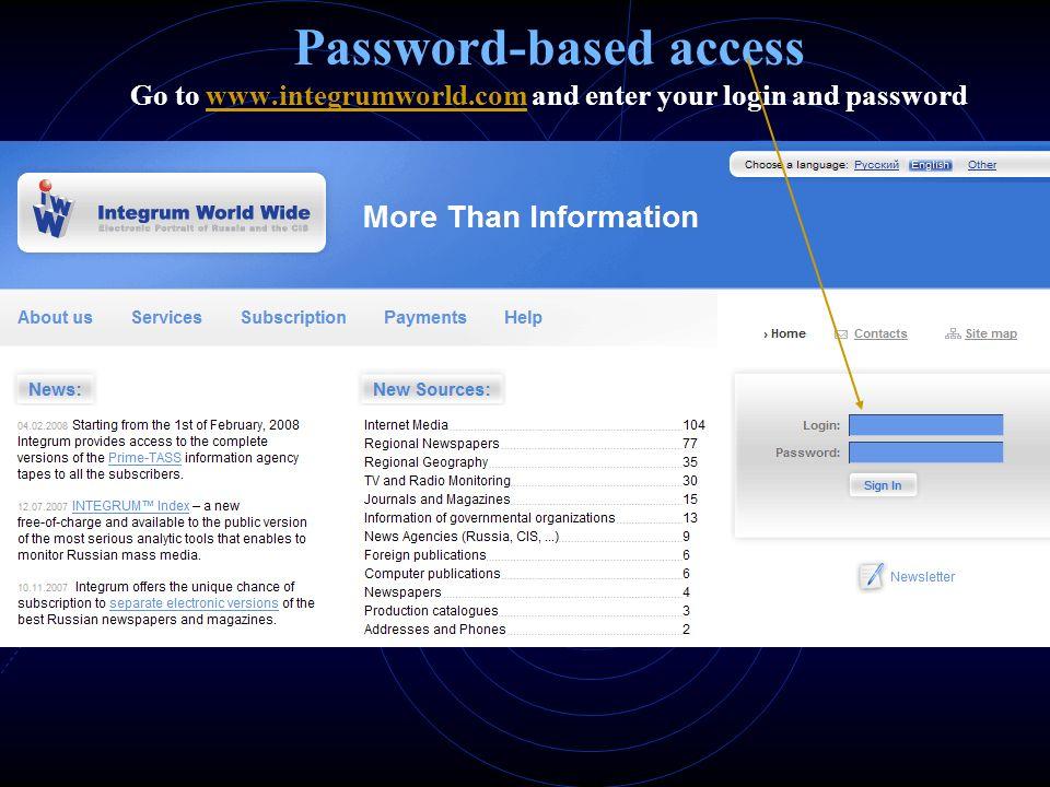 Password-based access Go to www. integrumworld