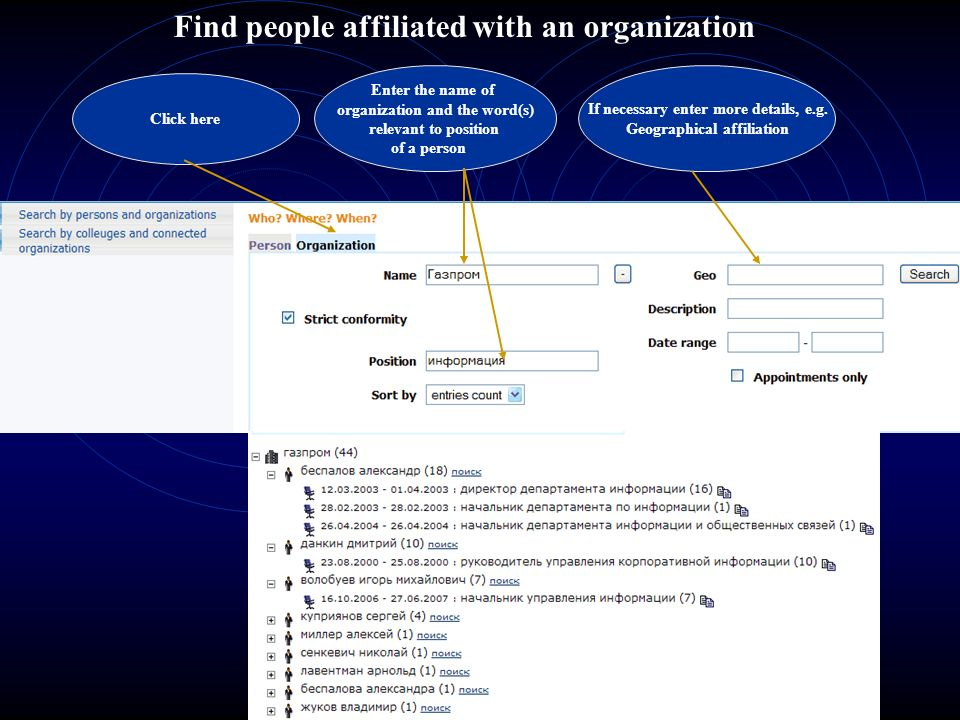 Find people affiliated with an organization