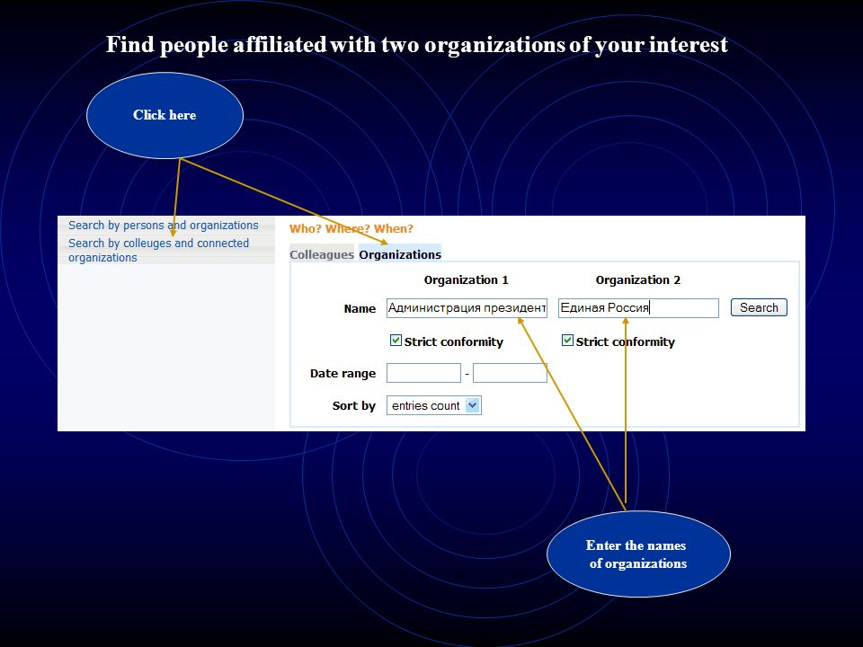 Find people affiliated with two organizations of your interest