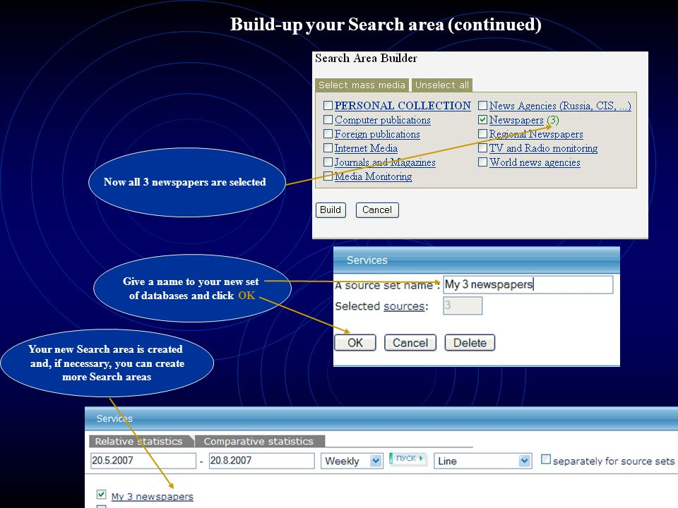 Build-up your Search area (continued)