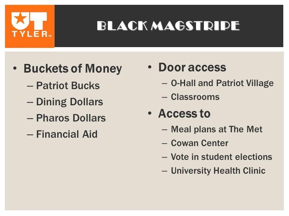 Black magstripe Door access Buckets of Money Access to Patriot Bucks