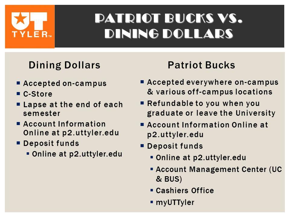 Patriot bucks vs. dining dollars