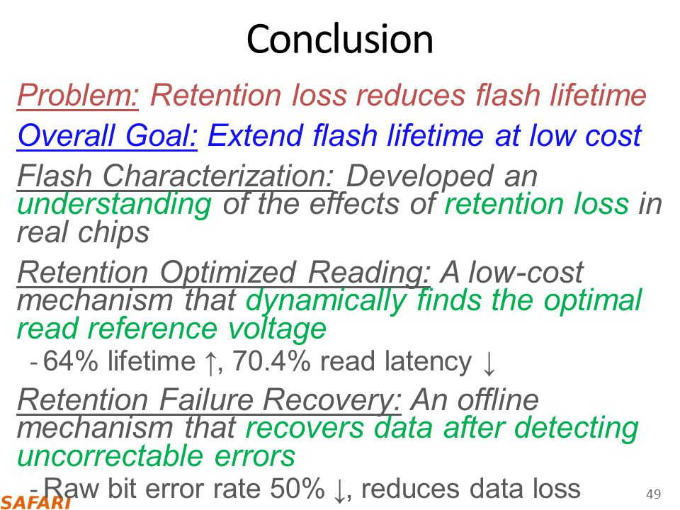 Conclusion Problem: Retention loss reduces flash lifetime