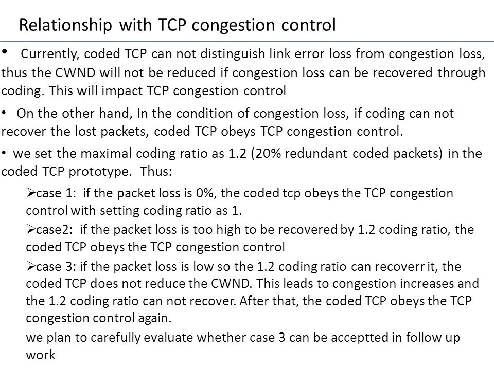 Relationship with TCP congestion control