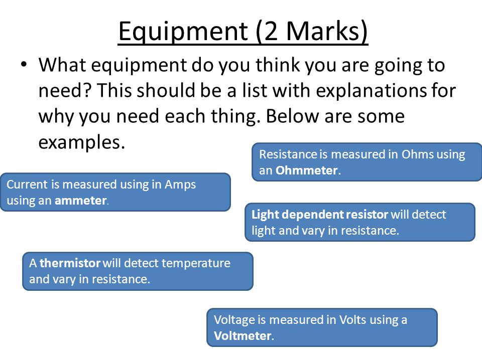 Equipment (2 Marks)
