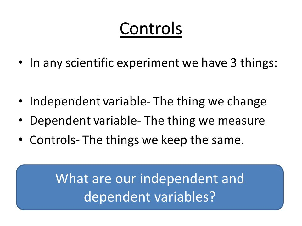 What are our independent and dependent variables