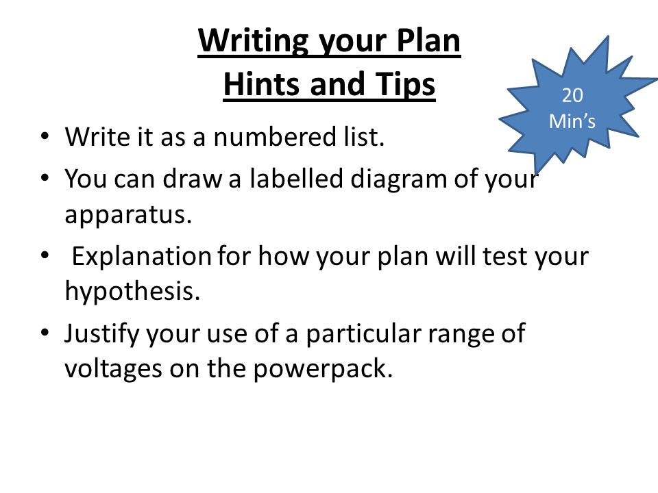 Writing your Plan Hints and Tips