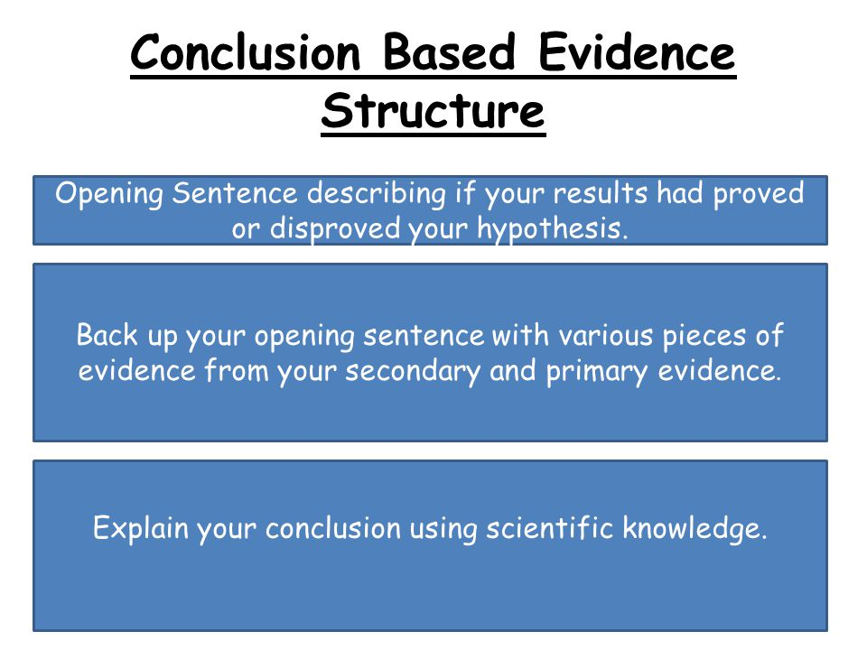 Conclusion Based Evidence Structure