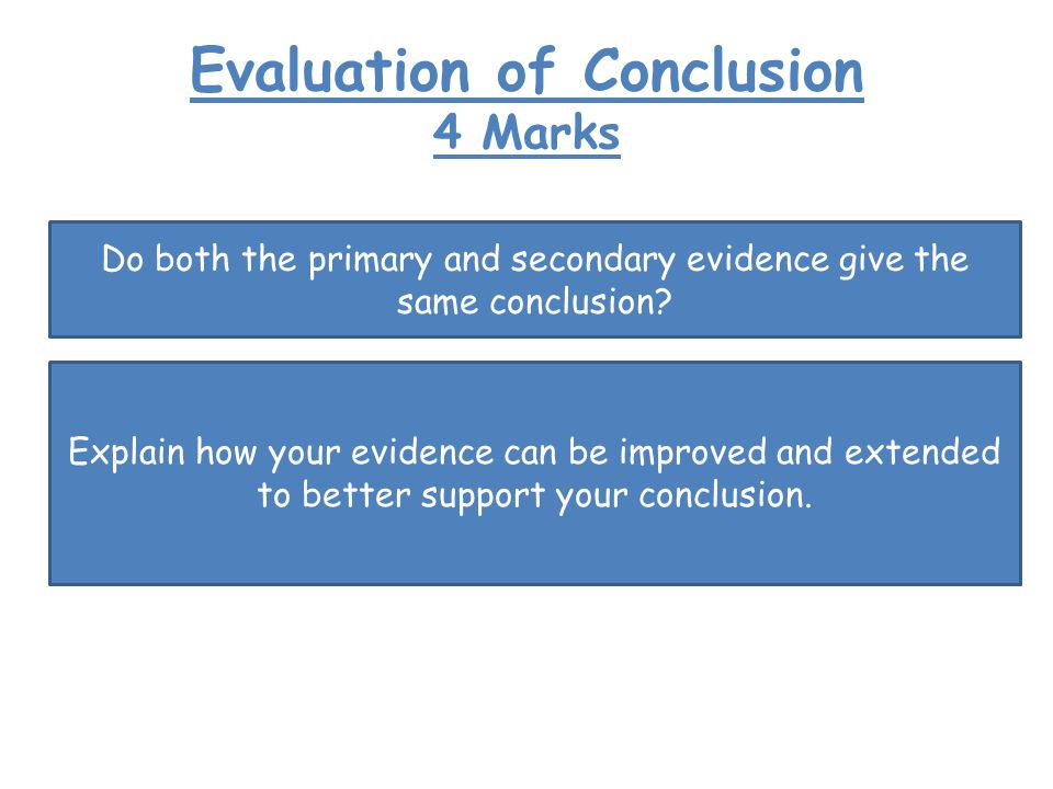 Evaluation of Conclusion 4 Marks