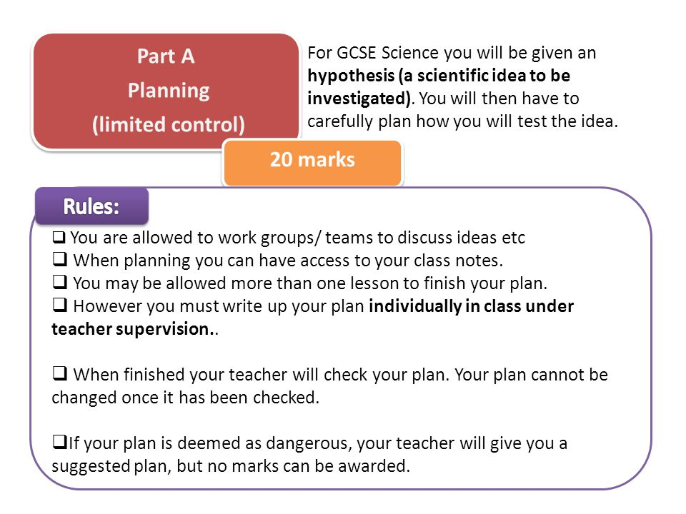 Part A Planning (limited control) 20 marks