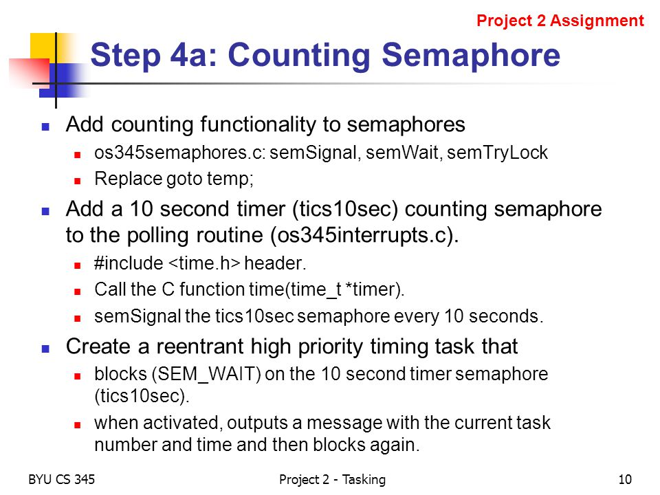 Step 4a: Counting Semaphore