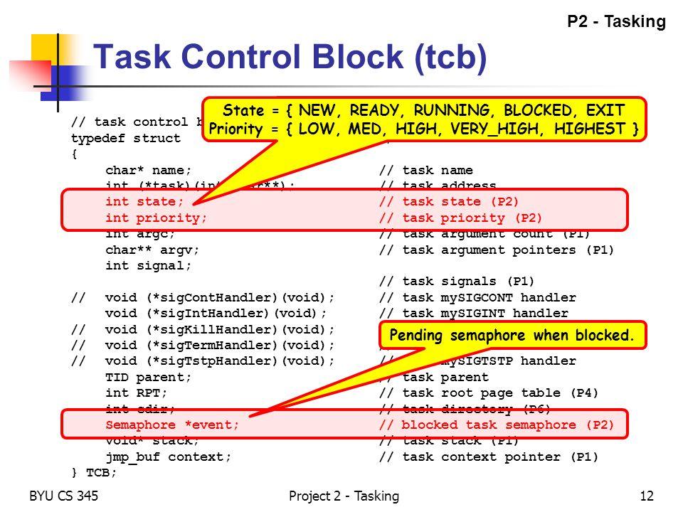 Task Control Block (tcb)