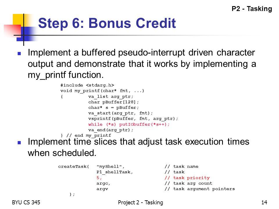 P2 - Tasking Step 6: Bonus Credit.