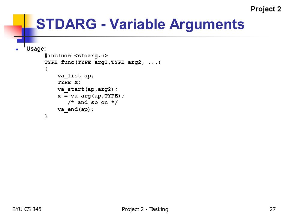 STDARG - Variable Arguments