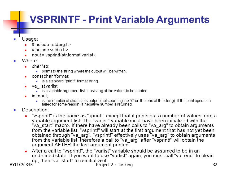 VSPRINTF - Print Variable Arguments