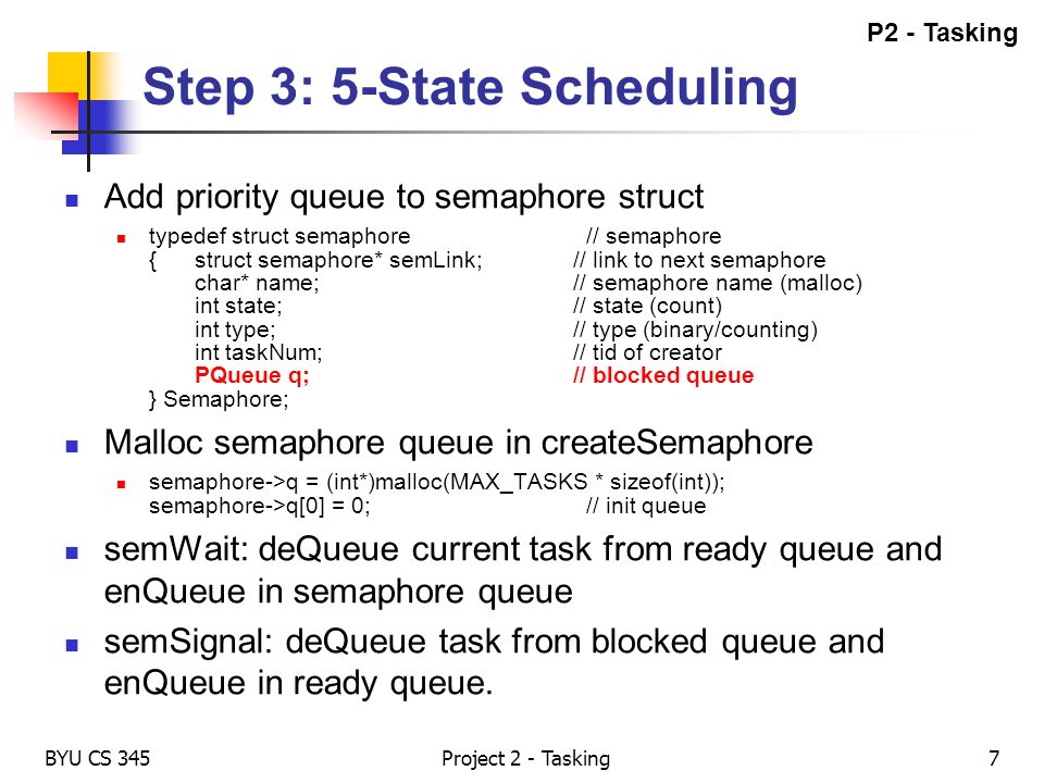 Step 3: 5-State Scheduling