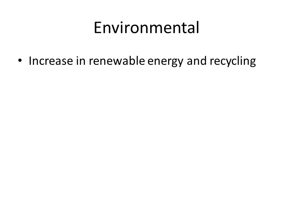 Environmental Increase in renewable energy and recycling