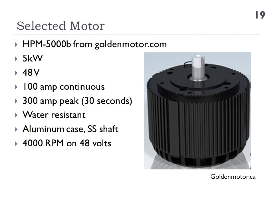 Selected Motor HPM-5000b from goldenmotor.com 5kW 48 V