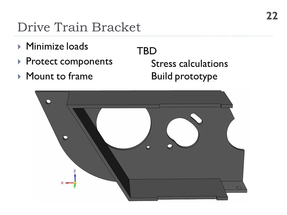 Drive Train Bracket Minimize loads TBD Protect components