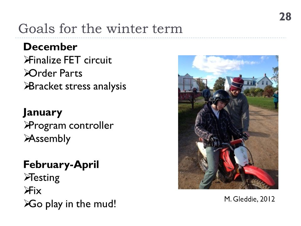 Goals for the winter term