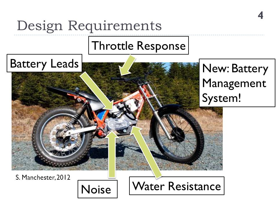 Design Requirements Throttle Response Battery Leads New: Battery