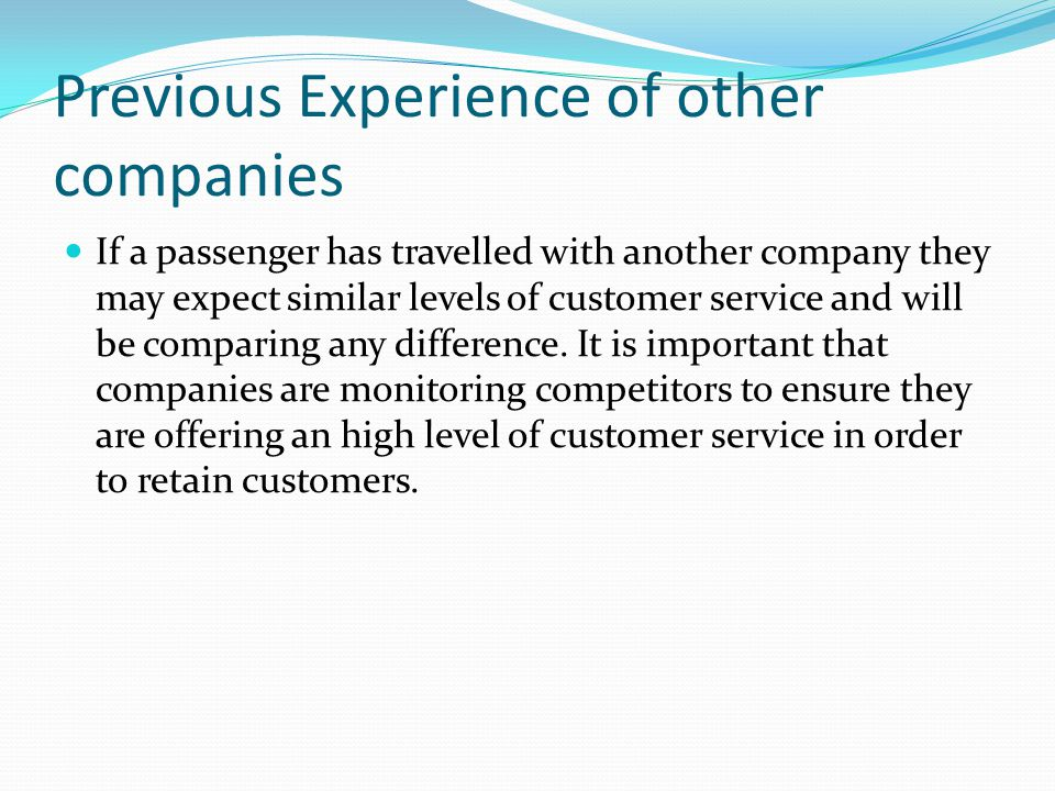 Previous Experience of other companies