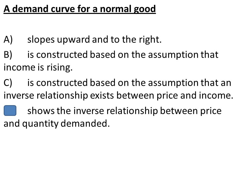 A demand curve for a normal good