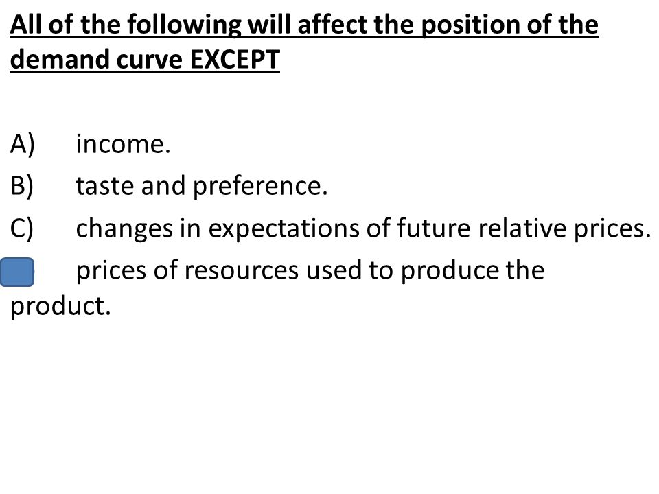All of the following will affect the position of the demand curve EXCEPT