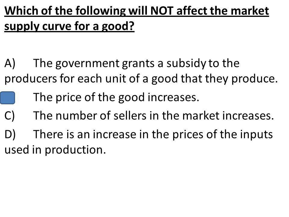 Which of the following will NOT affect the market supply curve for a good