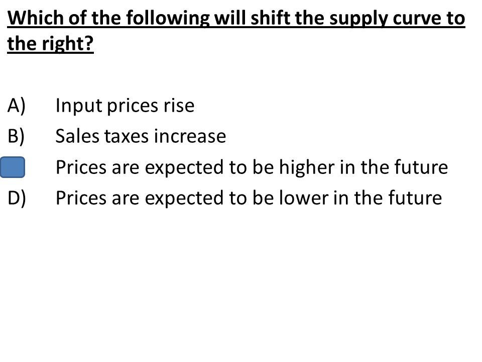Which of the following will shift the supply curve to the right