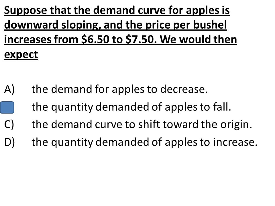 Suppose that the demand curve for apples is downward sloping, and the price per bushel increases from $6.50 to $7.50. We would then expect