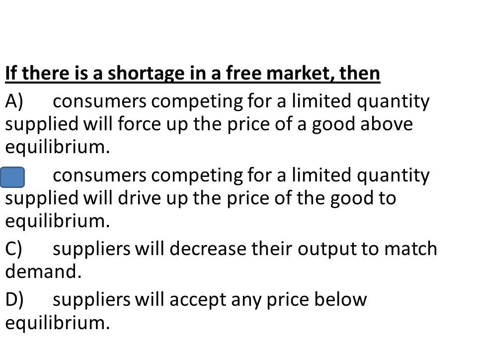 If there is a shortage in a free market, then