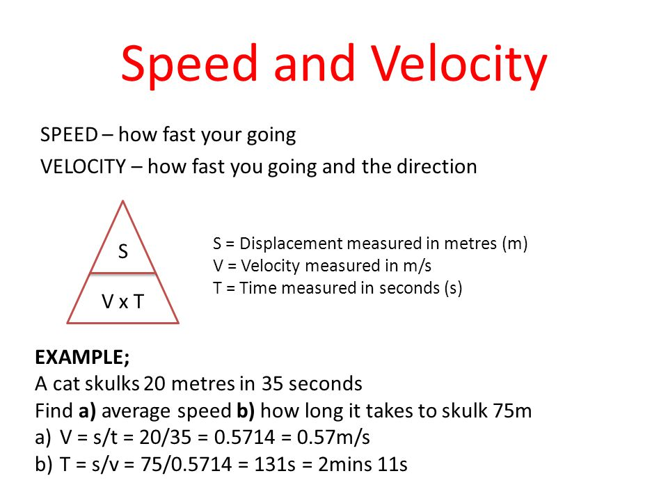 Speed and Velocity SPEED – how fast your going VELOCITY – how fast you going and the direction S = Displacement measured in metres (m)