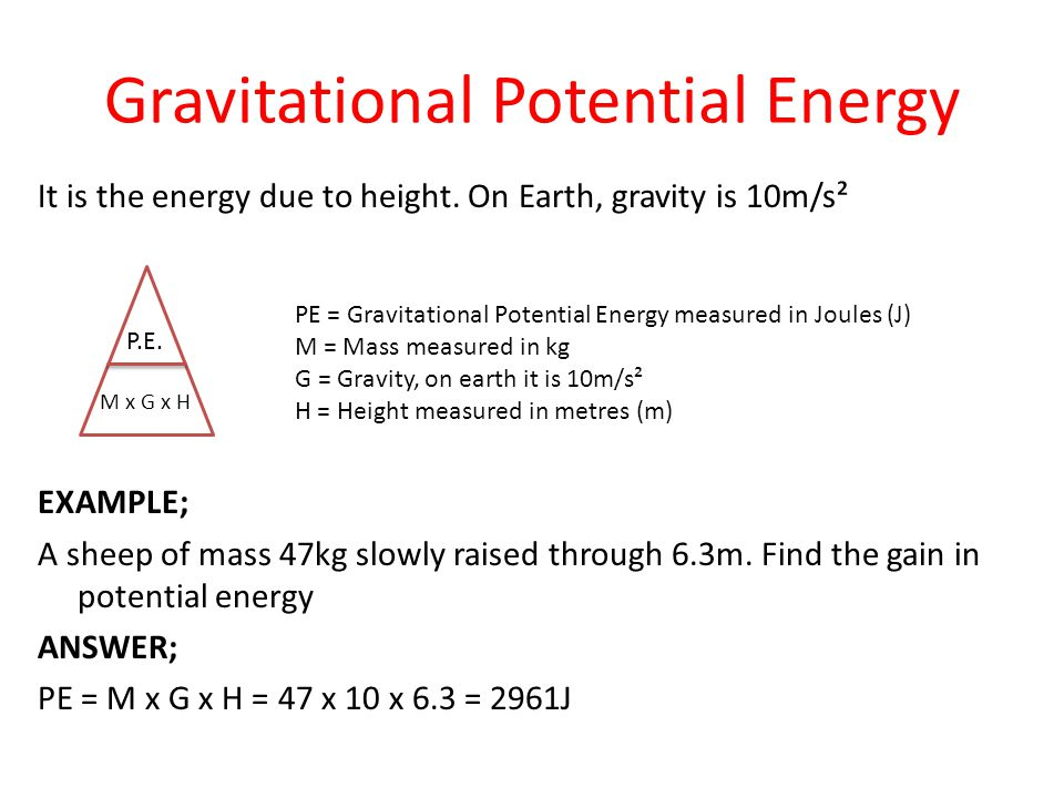 mass and gravitational potential energy Height directly affects gravitational potential energy, since this energy is equal to mgh (mass x gravity x height) height does not affect kinetic energy, which depends on t he speed, not on.