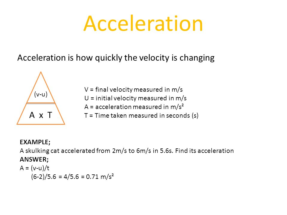 Acceleration Acceleration is how quickly the velocity is changing