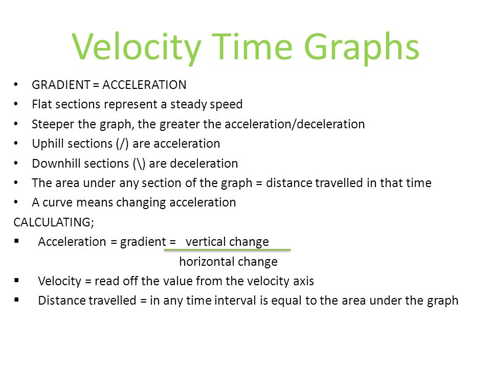 Velocity Time Graphs GRADIENT = ACCELERATION