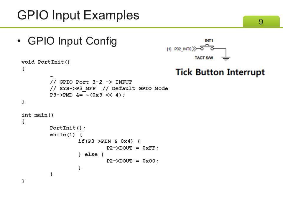 GPIO Input Examples GPIO Input Config void PortInit() { …