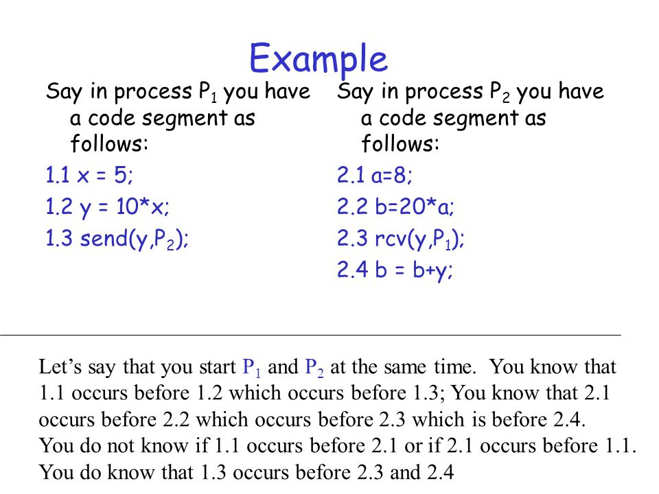 Example Say in process P1 you have a code segment as follows: