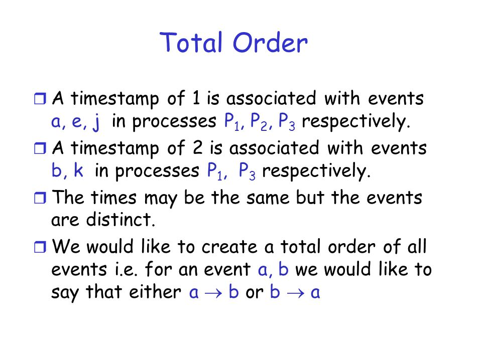 Total Order A timestamp of 1 is associated with events a, e, j in processes P1, P2, P3 respectively.