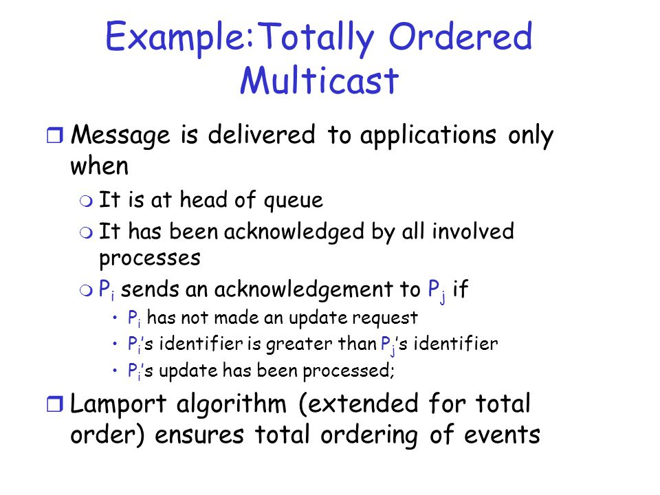 Example:Totally Ordered Multicast